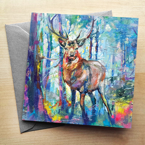 Mystic Stag Greetings Card by Sue Gardner