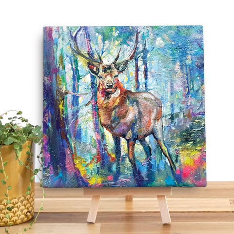 Mystic Stag Wooden Canvas by Sue Gardner