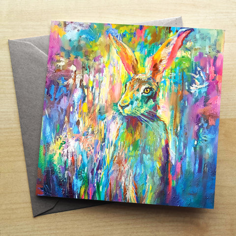 Woodland Hare Greetings Card by Sue Gardner