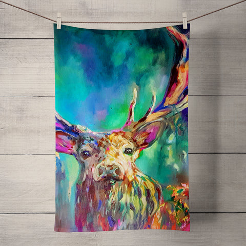 Woodland Stag Tea Towel by Sue Gardner