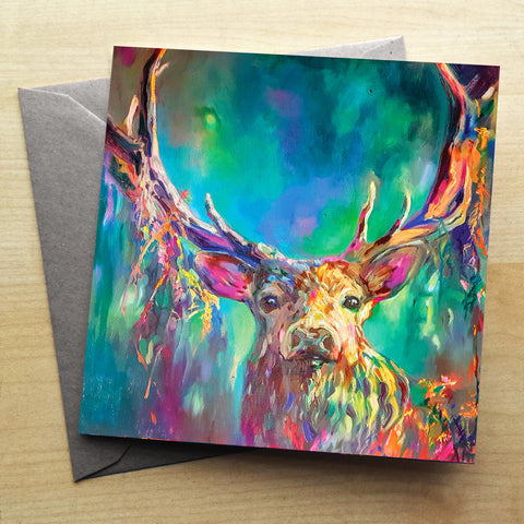 Woodland Stag Greetings Card by Sue Gardner