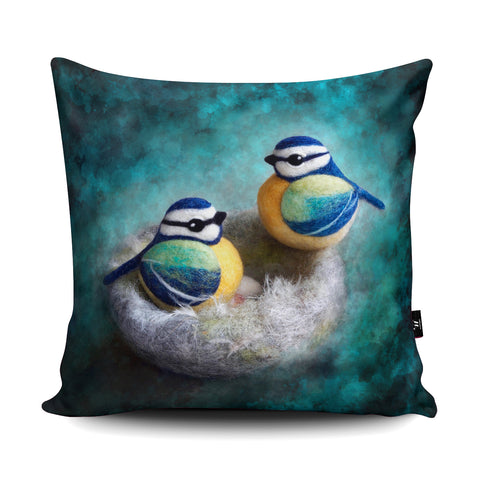 Blue Tit Cushion by The Lady Moth