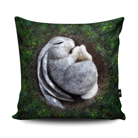Sleeping Hare Cushion by The Lady Moth