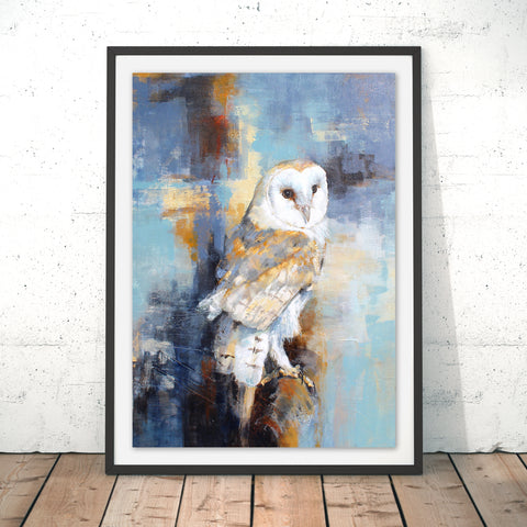 City Barn Owl Original Print by Valerie de Rozarieux