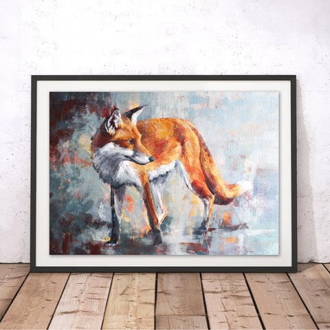 City Fox Original Print by Valerie de Rozarieux