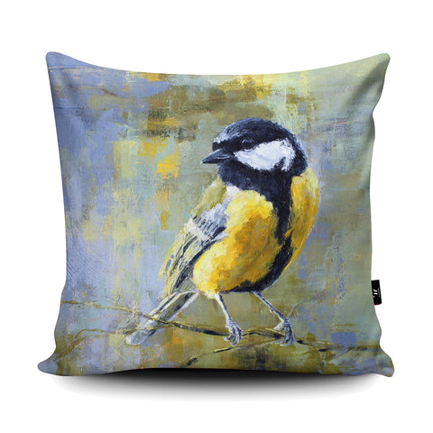 Great Tit Cushion by Valerie de Rozarieux