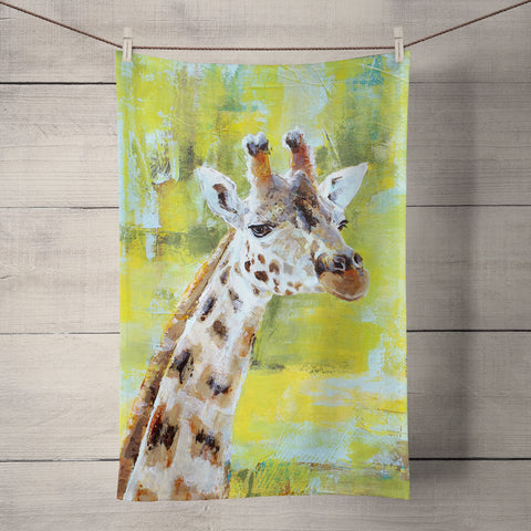 Chester Zoo Giraffe Tea Towel by Valerie de Rozarieux