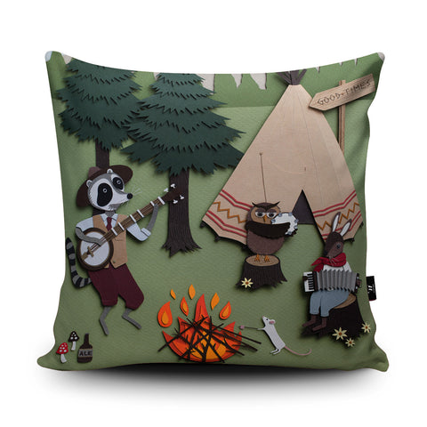 Woodland Camping Cushion by Rachael Edwards
