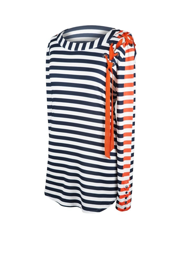 Navy stripe with orange ribbon