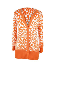 Orange and white polkadot cardigan