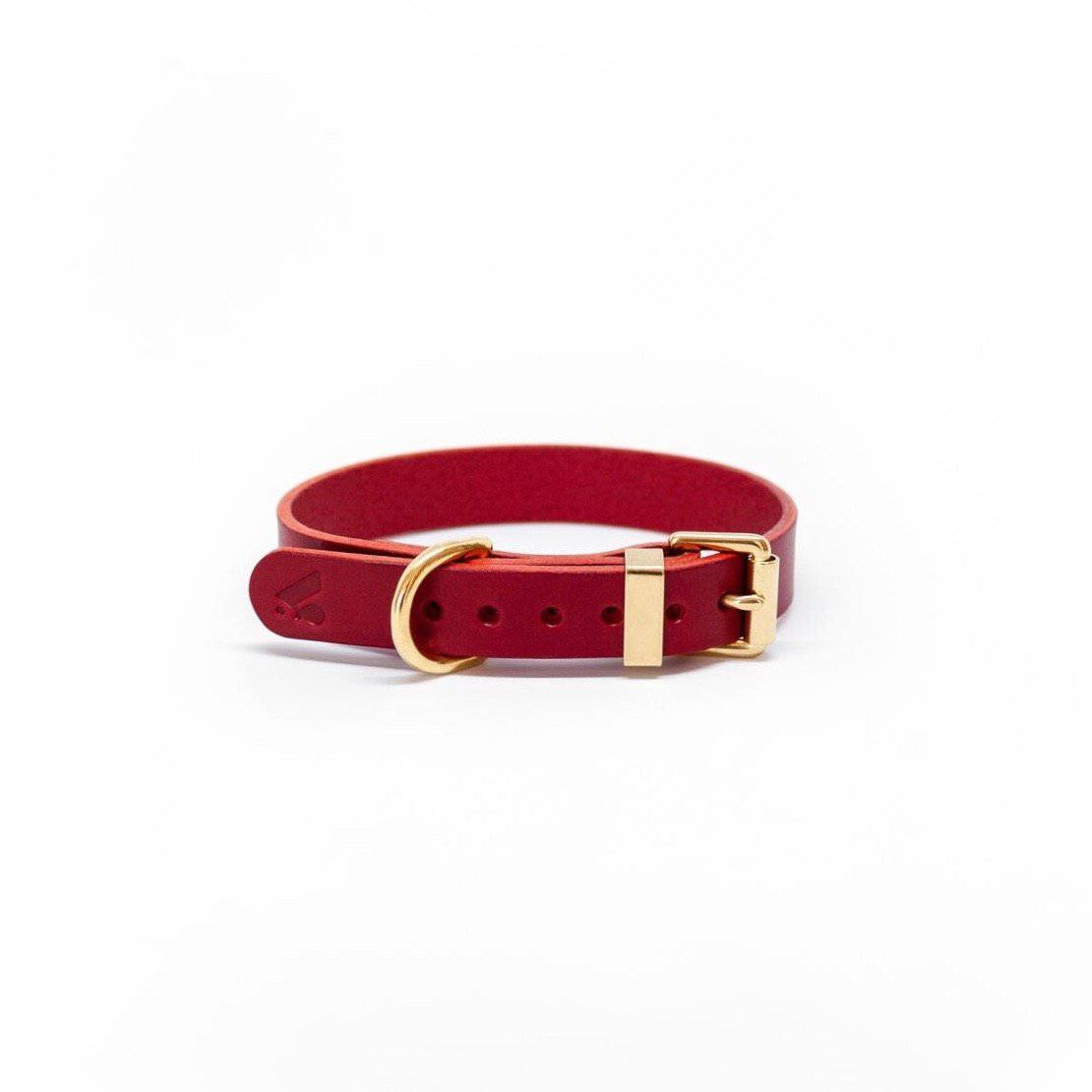Red - Classic Leather Collar - Holler Brighton