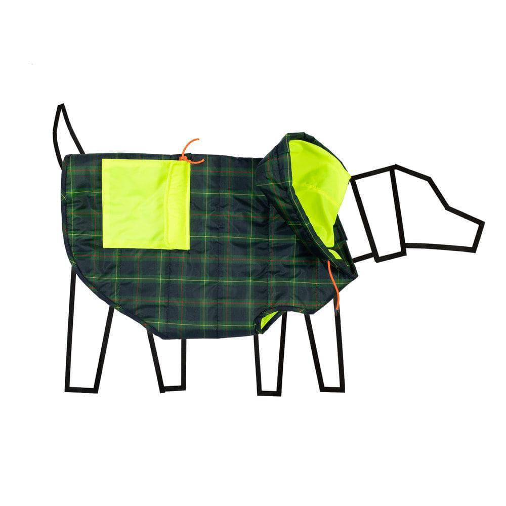 Green tartan & Neon Yellow Puffer Jacket - Holler Brighton