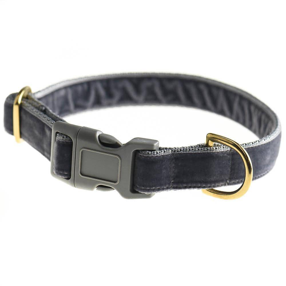 Grey - Velvet Webbing & Brass Collar - Holler Brighton