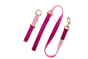 Luxury Double Baby Pink & Cerise Collar & Lead Set - [Holler Brighton]