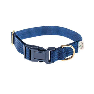 Navy - Polly Webbing & Brass Collar - Holler Brighton