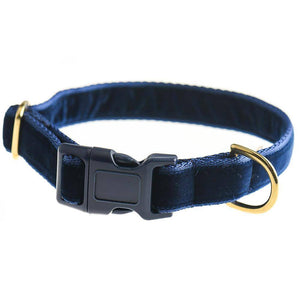 Navy - Velvet Webbing & Brass Collar - Holler Brighton