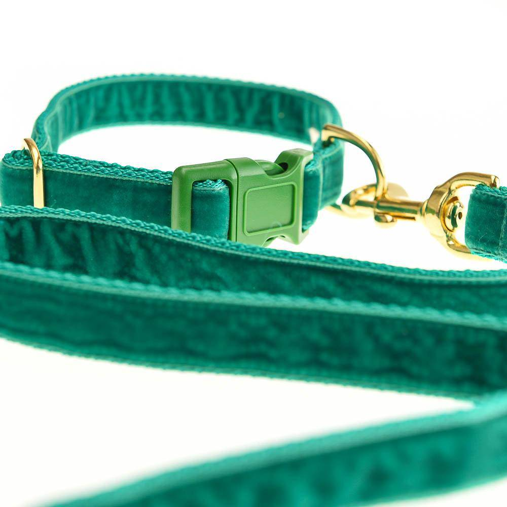 Plush Emerald velvet & Polly-Webbing Lead - Holler Brighton