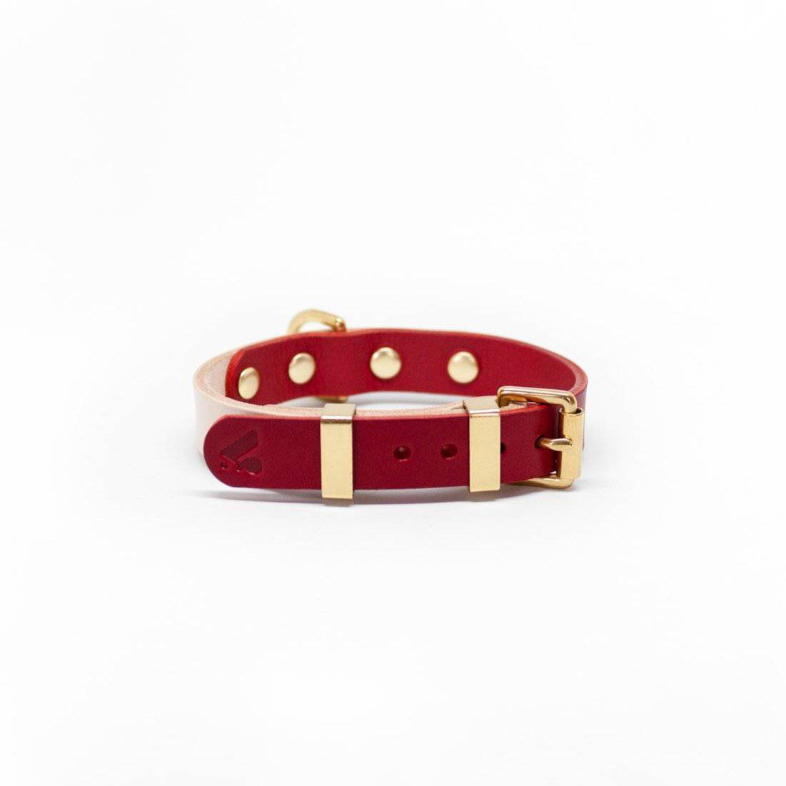 Nude & Ruby Duotone Leather Collar + Brass Hardware - Holler Brighton