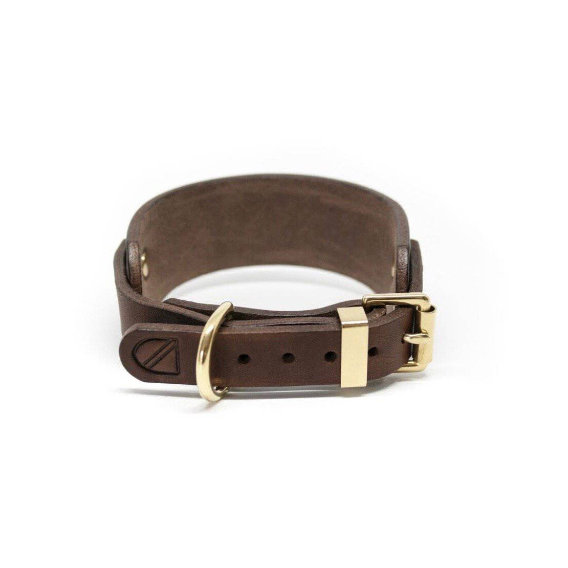 Coffee - Leather Sighthound Collar - Holler Brighton