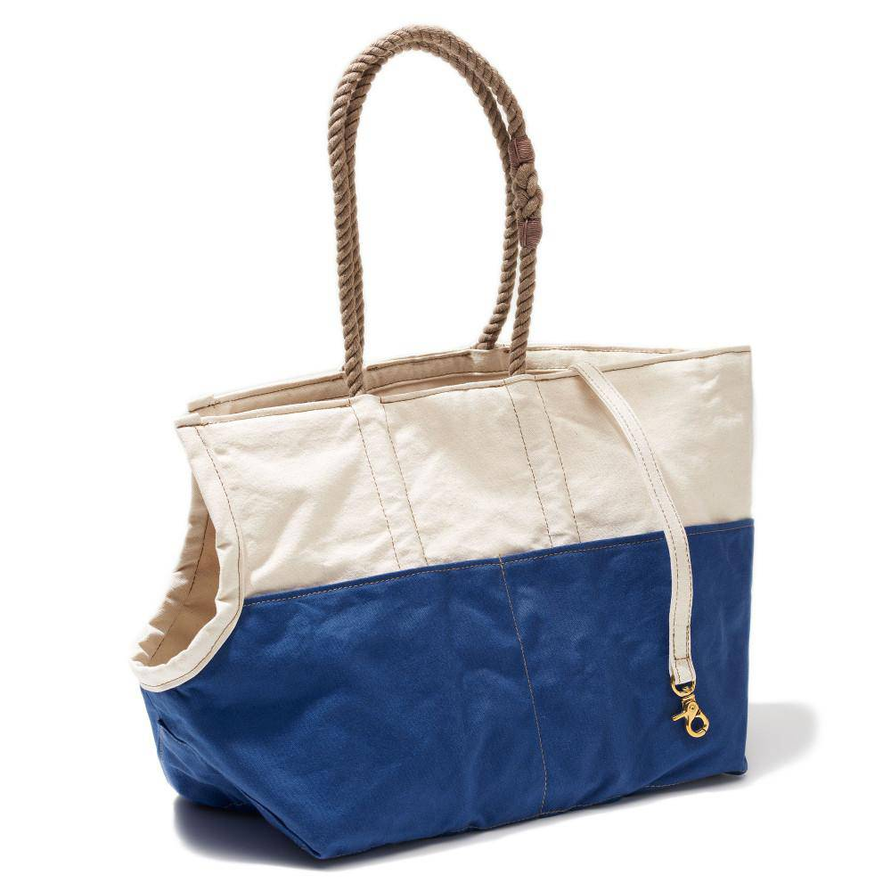 Natural & Blue - Dog Carrier With Rope handle - Holler Brighton