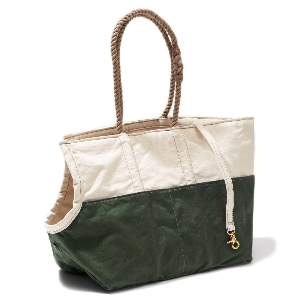 Natural & Olive - Dog Carrier With Rope handle - [Holler Brighton]