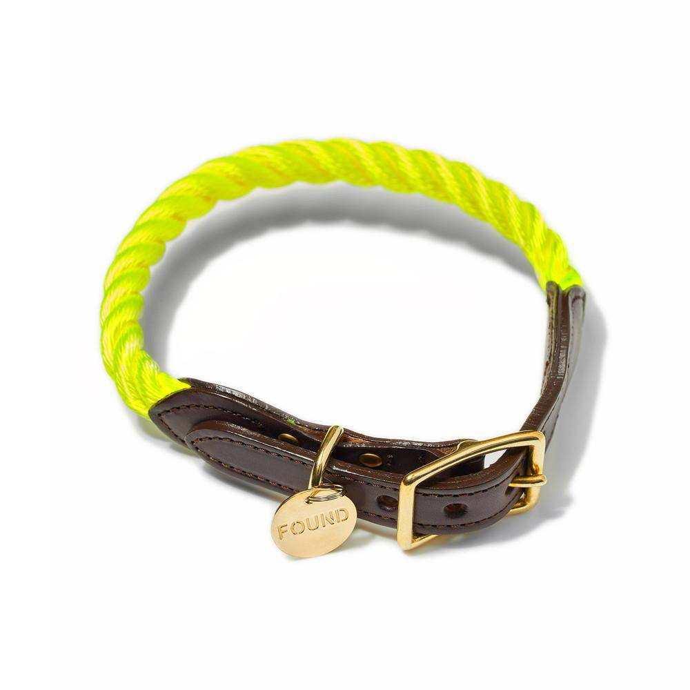 Neon Yellow - Rope Dog Collar - Holler Brighton