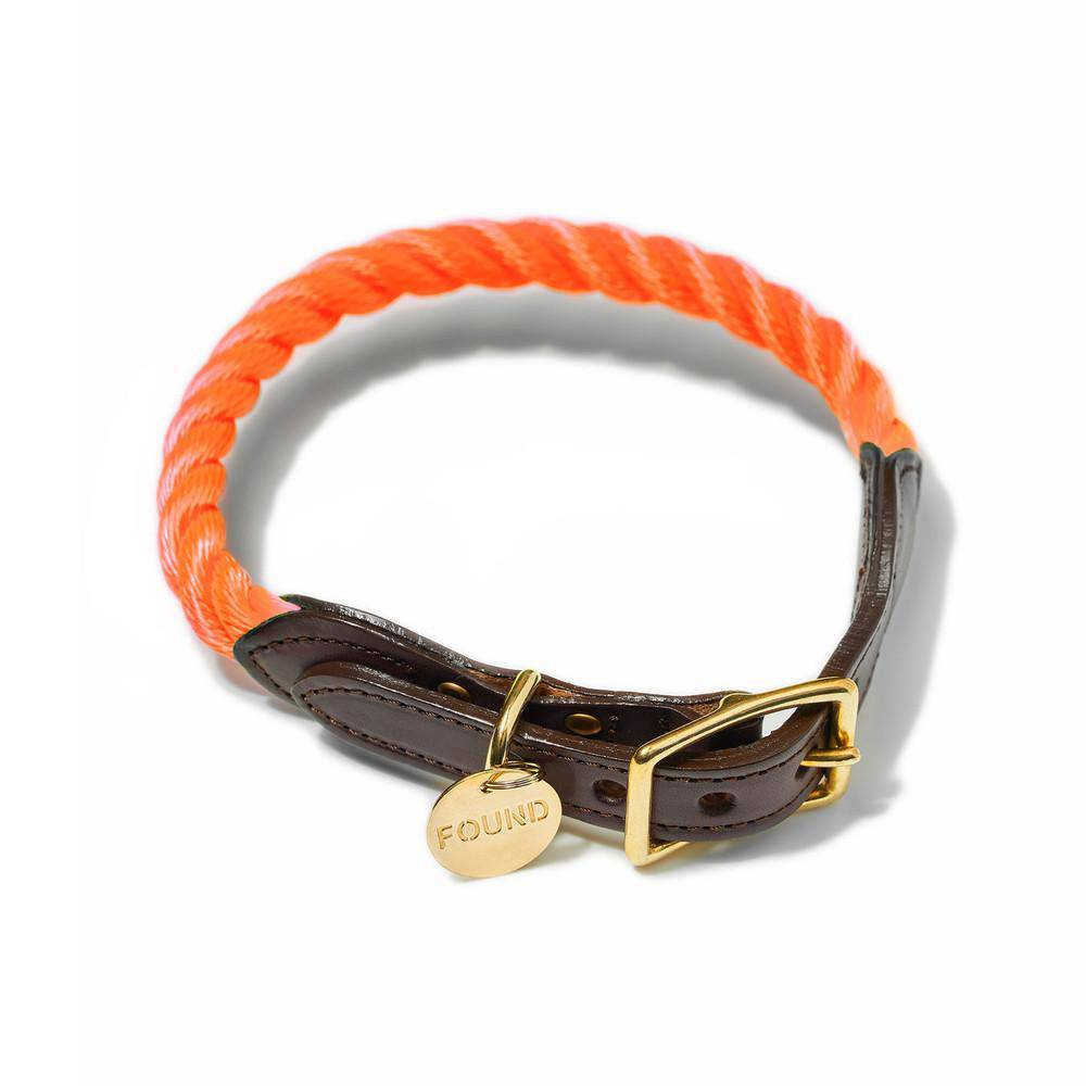 Orange - Rope Dog Collar - Holler Brighton