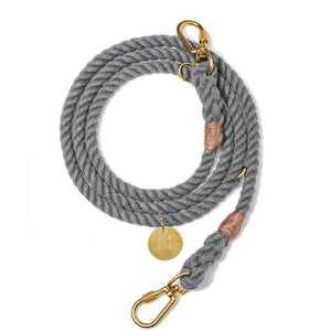 Grey Cotton - Adjustable Rope Lead - Holler Brighton