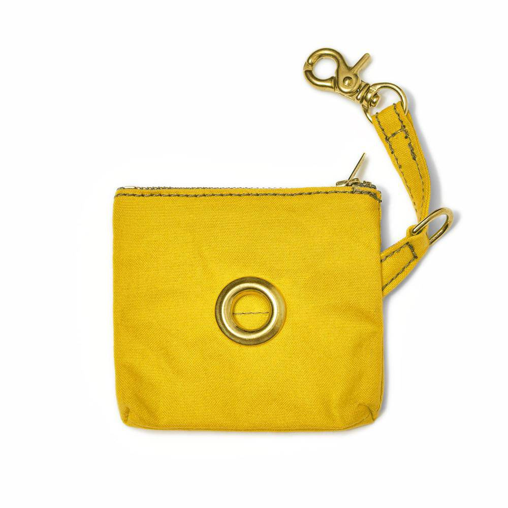 Yellow - Waxed Canvas Poo Bag holder - Holler Brighton