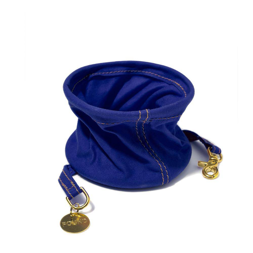 Blue - Cotton Canvas Collapsible Water Bowl - Holler Brighton