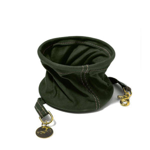 Olive Green - Cotton Canvas Collapsible Water Bowl - Holler Brighton