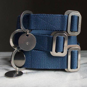Blue - Cotton Collar + Marine Grade Steel Buckle - Holler Brighton