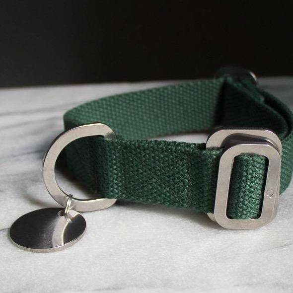 Green - Cotton Collar + Marine Grade Steel Buckle - [Holler Brighton]