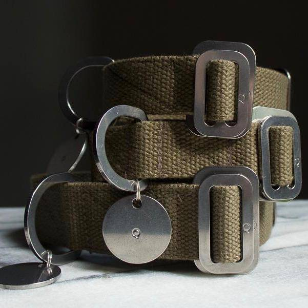 Khaki - Cotton Collar + Marine Grade Steel Buckle - Holler Brighton