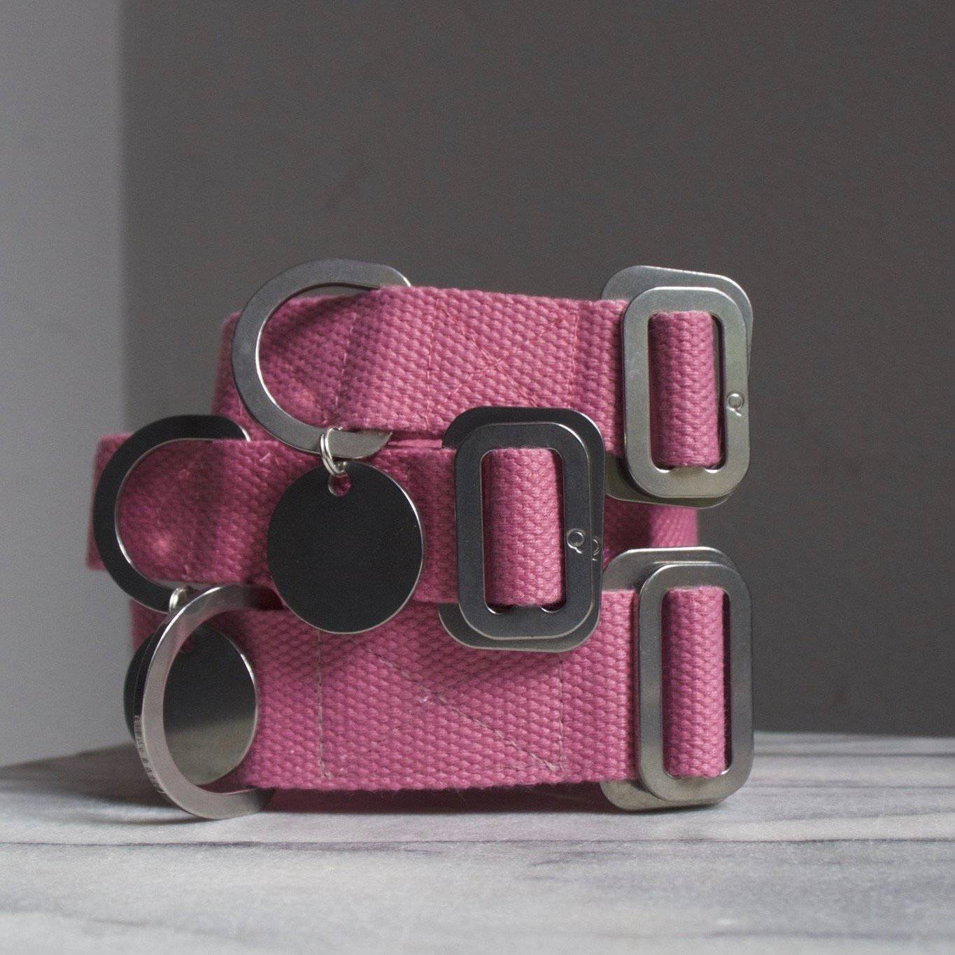 Pink - Cotton Collar + Marine Grade Steel Buckle - Holler Brighton