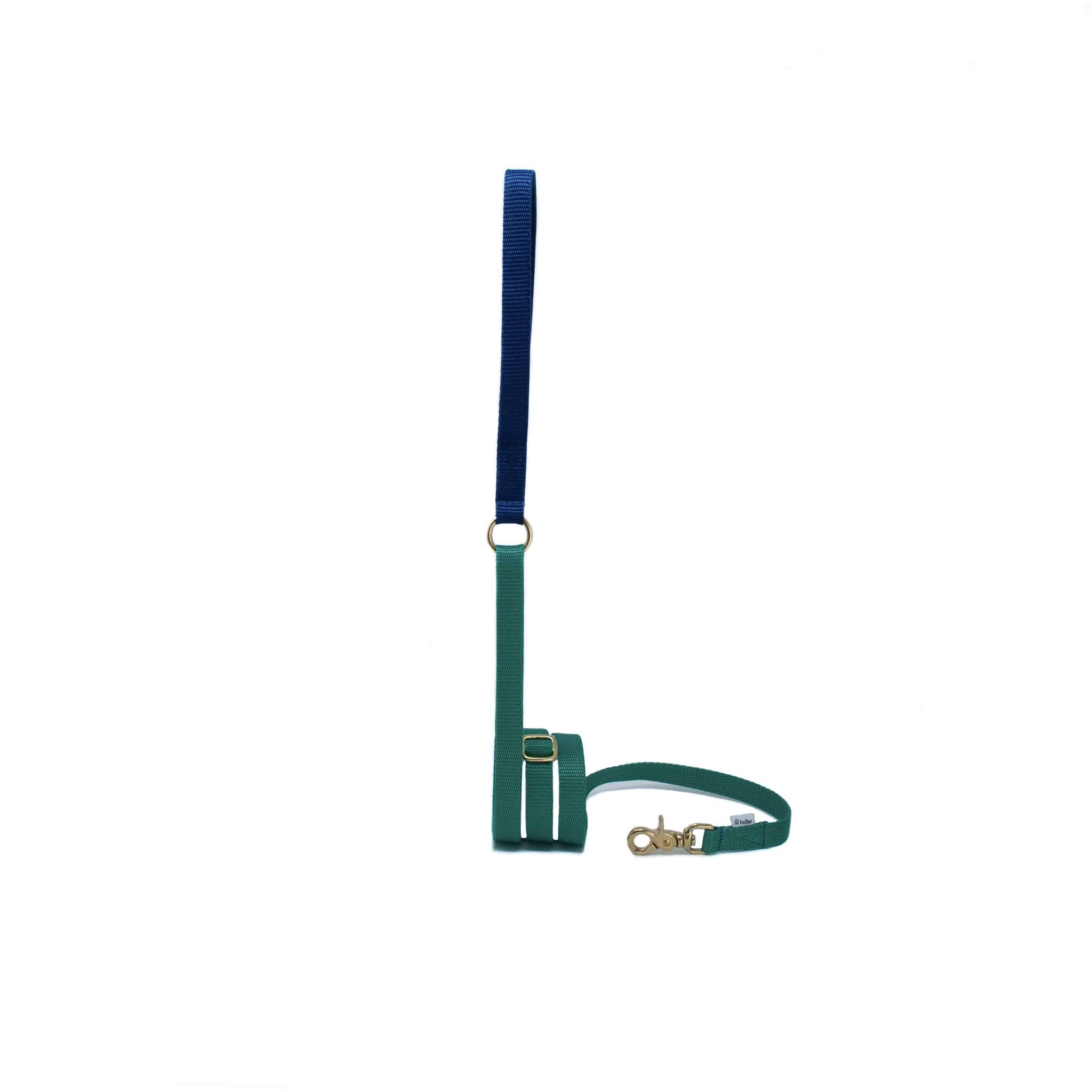 Extendable Holler Lead - Emerald & Navy Fleece Lined Handle - Holler Brighton