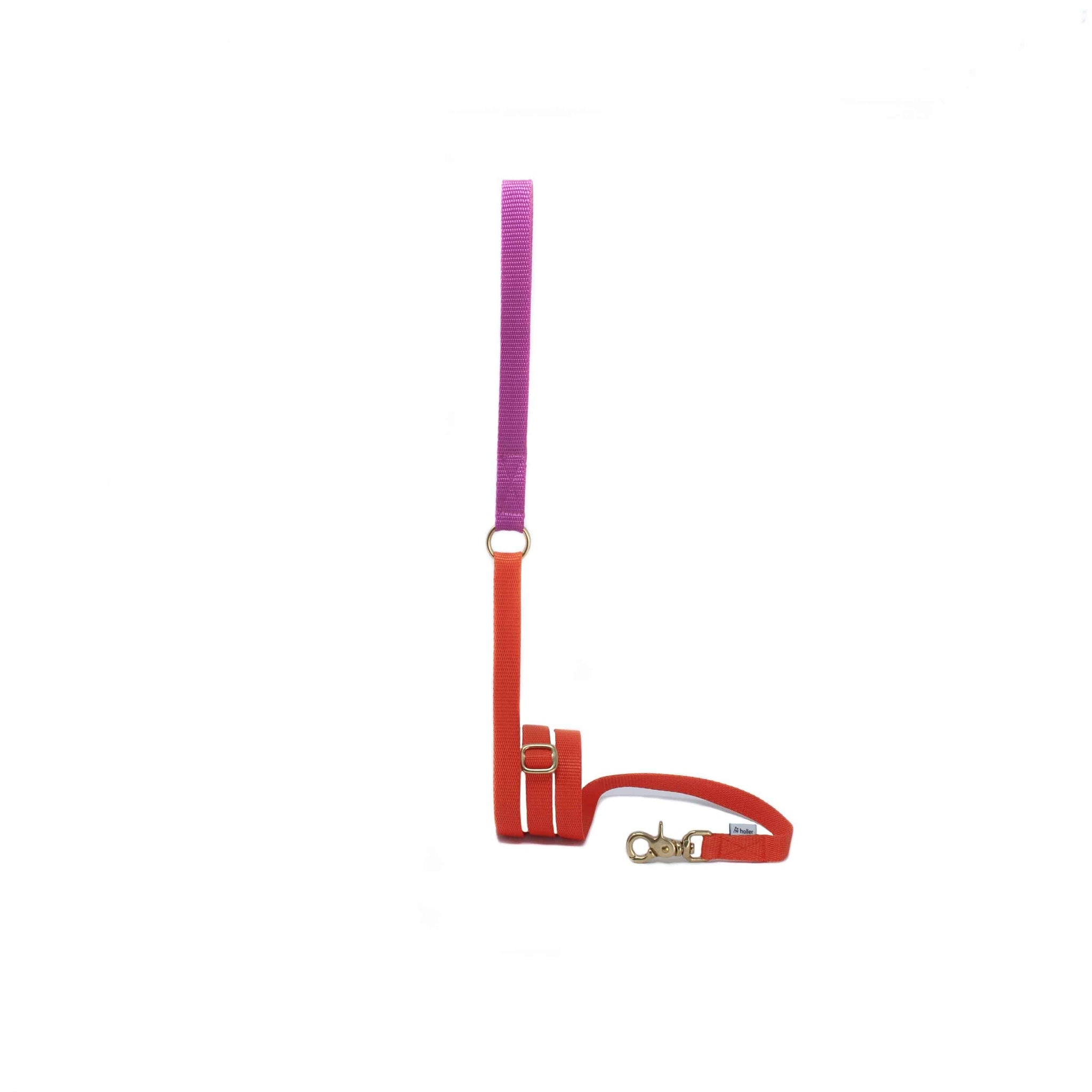 Holler - Extendable Lead - Orange & Pink Fleece Lined Handle - Holler Brighton