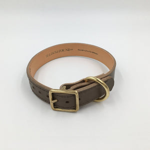 Brown - Classic Leather & Brass Collar - Holler Brighton