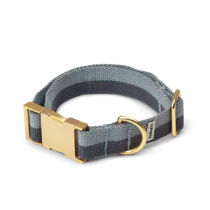 Faded Blue and Warm Grey - Cotton webbing Collar & Brass Hardware - [Holler Brighton]