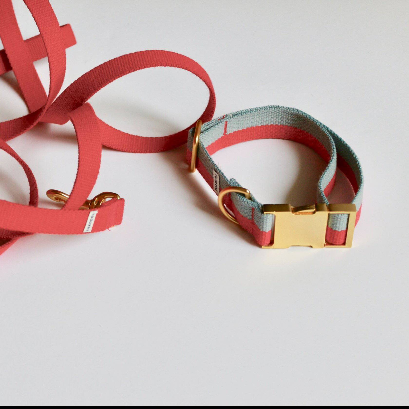 Faded Blue & Red - Cotton webbing Collar & Brass Hardware - [Holler Brighton]