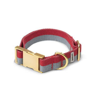 Faded Blue & Red - Cotton webbing Collar & Brass Hardware - Holler Brighton