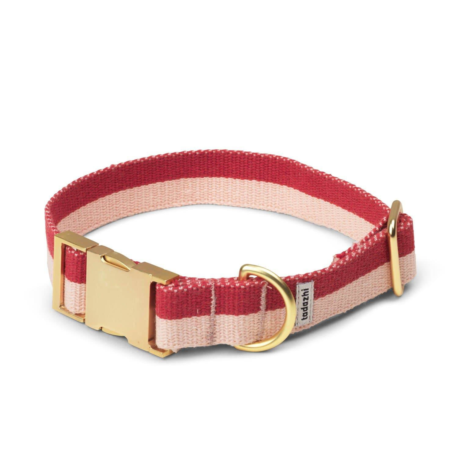 Red & Blush Pink - Cotton webbing Collar & Brass Hardware - Holler Brighton
