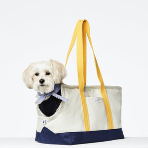 Cream, Navy & Yellow Canvas - Carrier - Holler Brighton