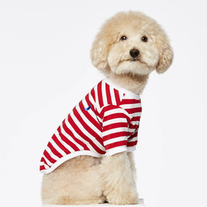 Red & White Stripped  - Cotton Striped T-shirt - Holler Brighton