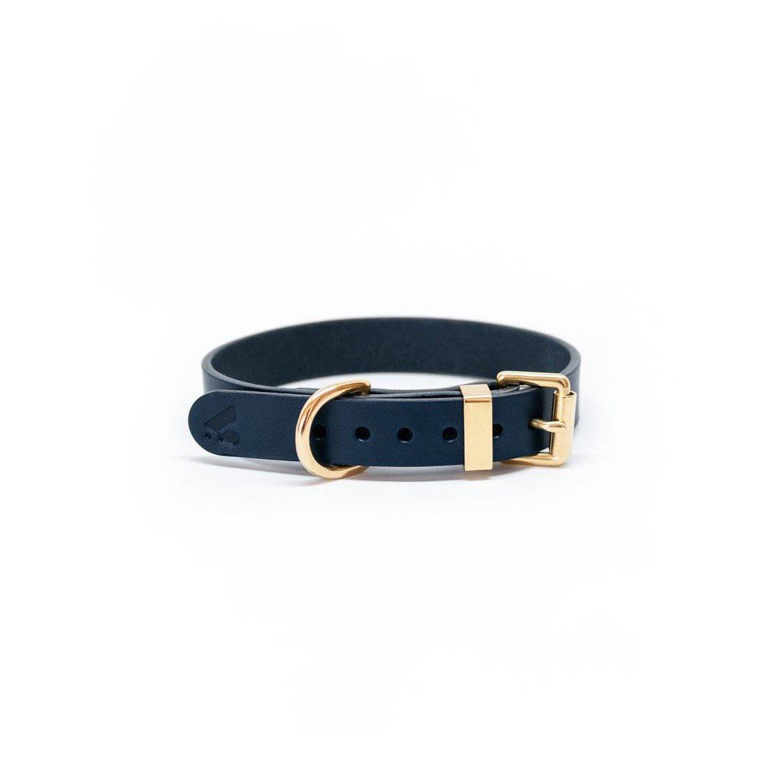 Navy - Classic Leather Collar - Holler Brighton