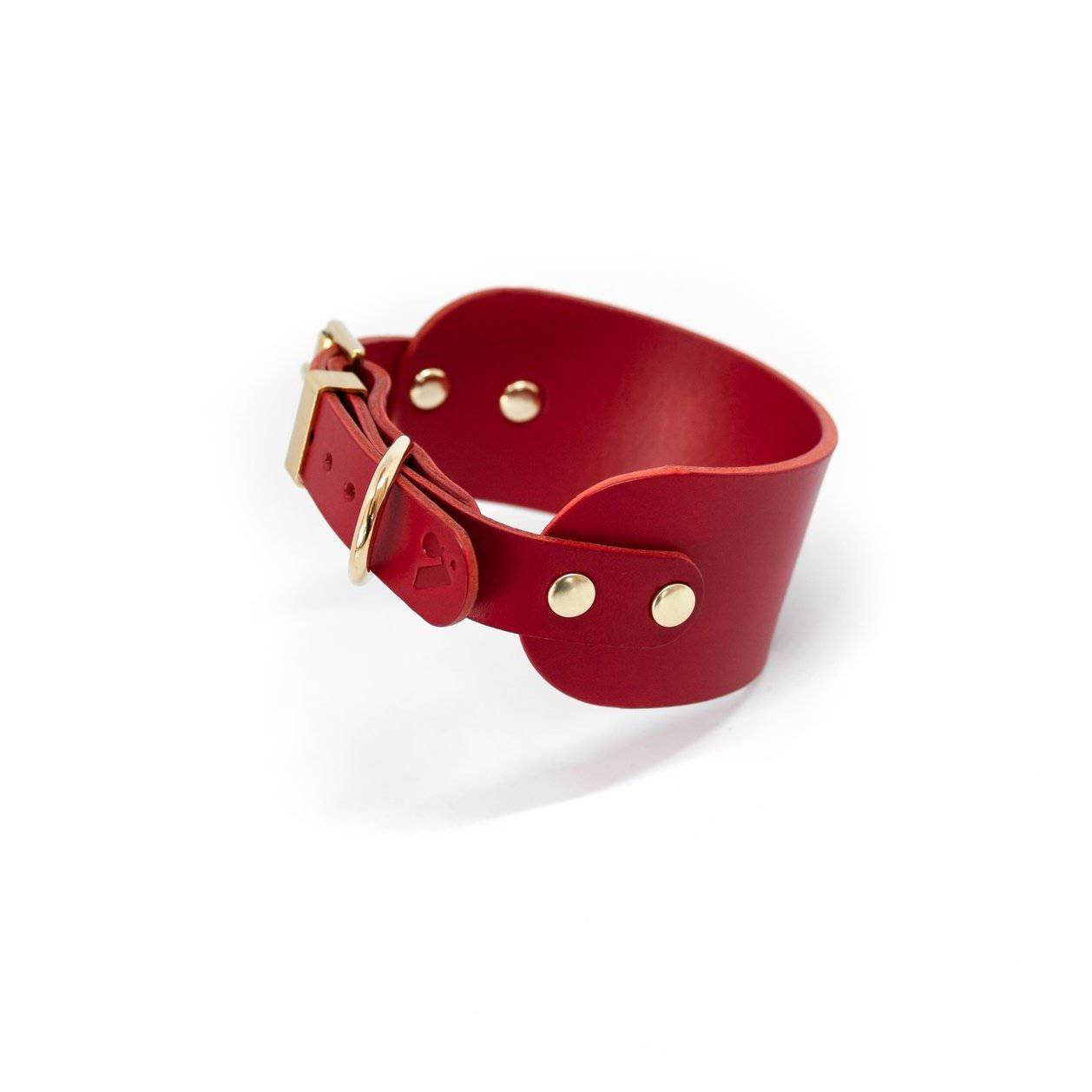 Red - Leather Sighthound Collar - Holler Brighton
