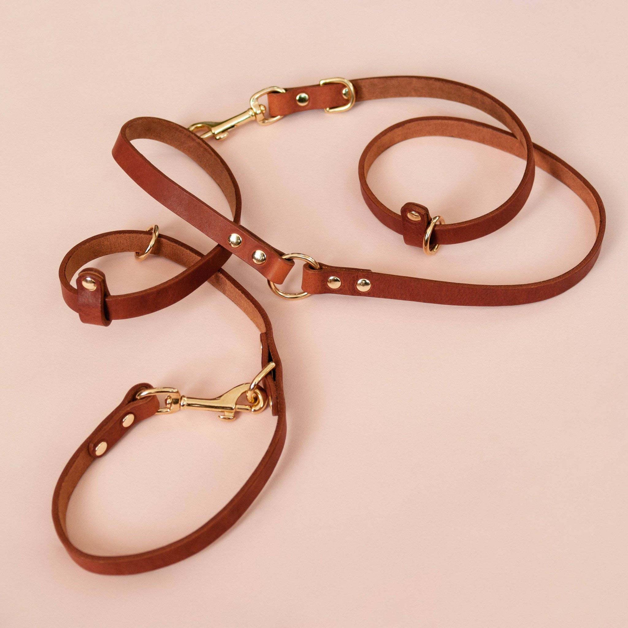 Caramel - Leather Multi-Lead - [Holler Brighton]