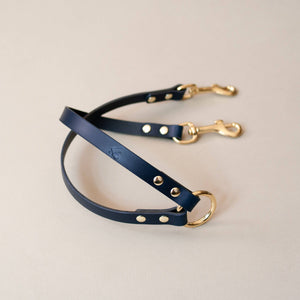 Navy - Leather Twin Lead Extension - Holler Brighton