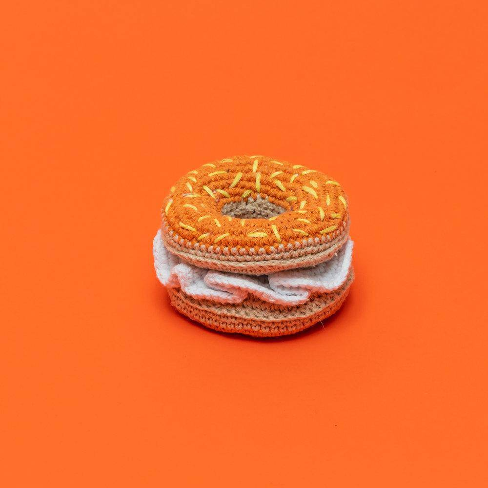 Cream Cheese Bagel Crochet Toy - Holler Brighton