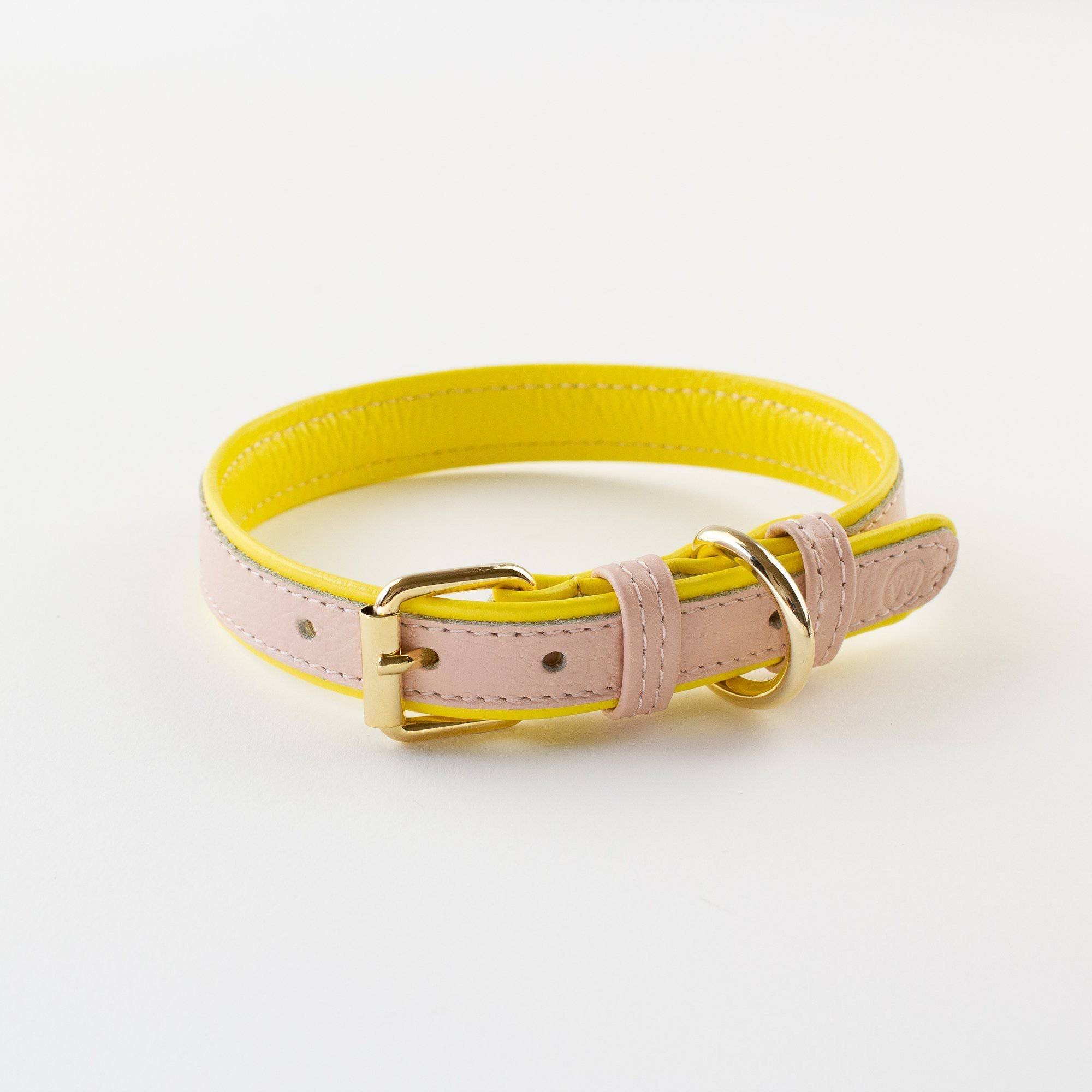 Peach & Yellow - Leather Collar - Holler Brighton